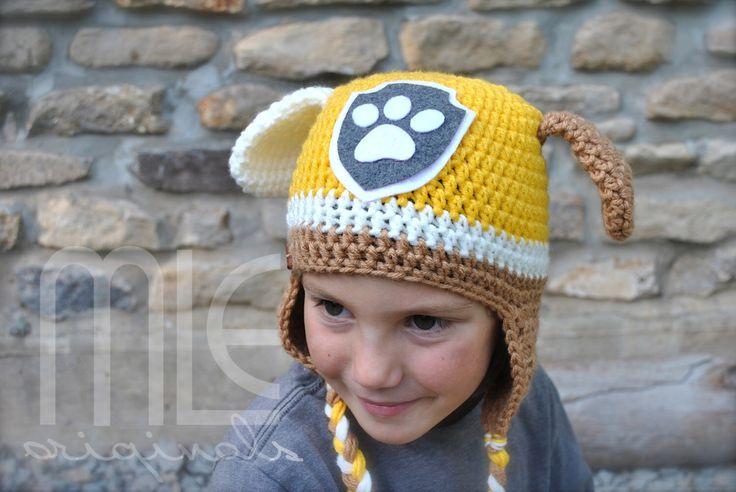 Paw Patrol Rubble-Inspired Hat, Rubble, Paw Patrol Rubble Hat, Paw Patrol, Knit Crochet Paw Patrol Hat, Crocheted Rubble Hat, Rubble Beanie by MLEoriginalsCanada on Etsy https://www.etsy.com/ca/listing/280800868/paw-patrol-rubble-inspired-hat-rubble