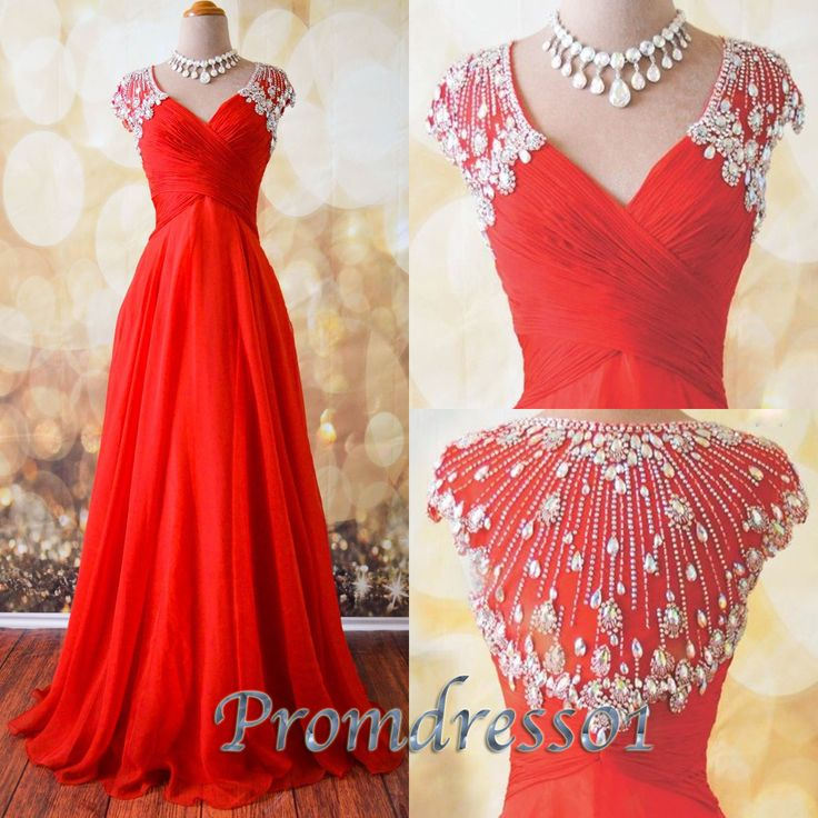 Red chiffon junior prom dresses, homecoming dress 2016, Stunning v-neck long eveing dress for teens, formal dress with rhinestones from #promdress01 #promdress www.promdress01.c... #coniefox #2016prom
