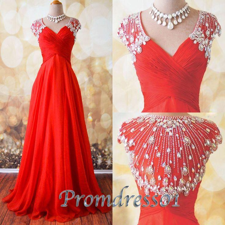 Red chiffon junior prom dresses, homecoming dress 2016, Stunning v-neck long eveing dress for teens, formal dress with rhinestones from #promdress01 #promdress www.promdress01.c... #coniefox #2016prom