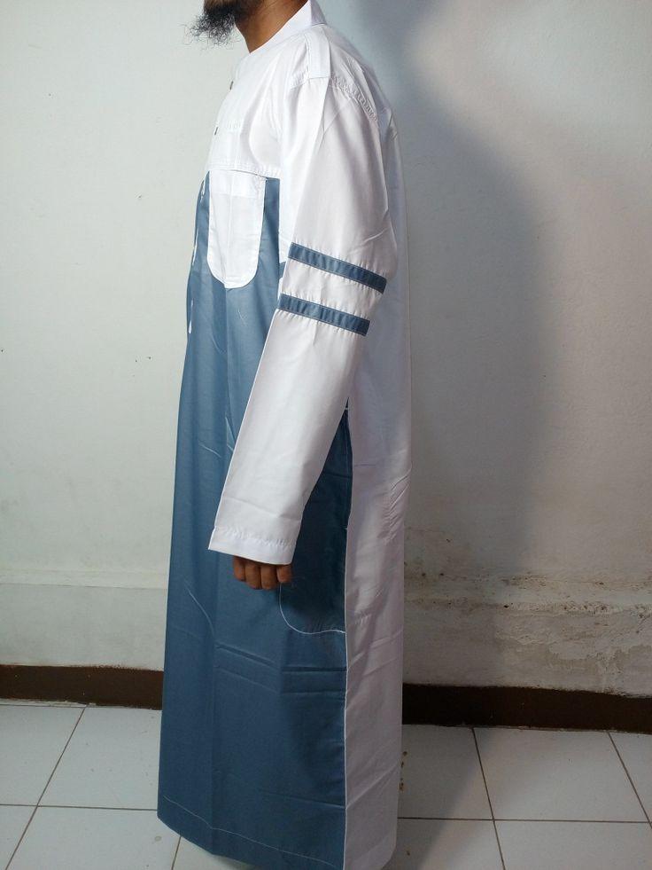 Baju Kurung Laki-Baju Gamis Atas Mata Kaki-Baju Jubah Pria Warna Abu-PutihLengan Garis-Baju Muslim Samase