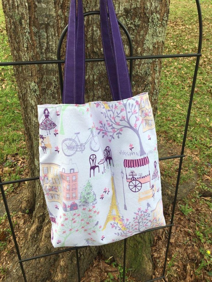 Paris Tote Bag-Baumwolle Paris Print Bag-personalisierte Geschenk-handgemachte bestickte Einkaufstasche