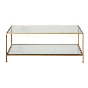 worlds away taylor coffee table gold leaf rectangular glass table front view