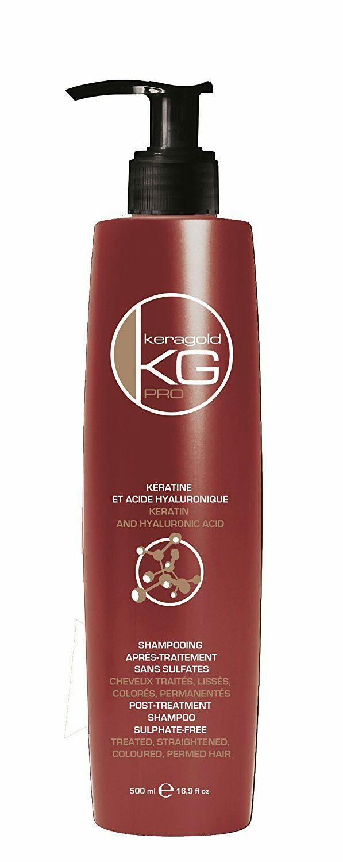 shampoing aprés traitement sans sulfates à la kératine et à l'acide hyaluronic pour cheveux abimés aprés coloration ou aprés traitement chimique , restructure et discipline les cheveux et les rends brillants doux et soyeux , idéale après un lissage brésilien.