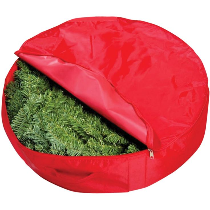 "25-inch Christmas Wreath Storage Bag (7""X25""), Red (Plastic)"