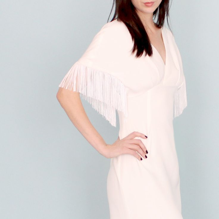 Weeding dress sale size 4 silk crepe fringe hippie boho rock kimono sleeve simple casual v neck by dahlnyc on Etsy https://www.etsy.com/uk/listing/251349619/weeding-dress-sale-size-4-silk-crepe