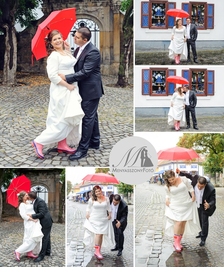 Rainy wedding day with fun