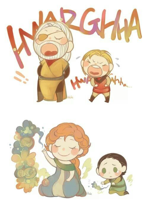 I see a resemblance. Little Loki and Frigga, Little Thor and Odin. Hmm.