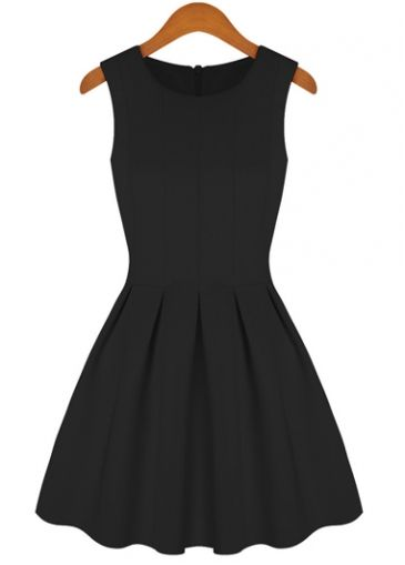 Graceful Black High Waist Pleated Tank Dress for Lady