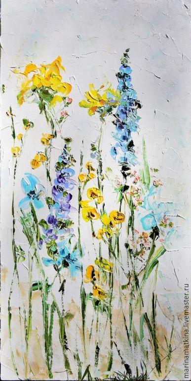 Купить Белая светлая картина желтые фиолетовые бирюзовые люпины цветы масло