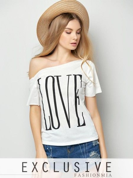 One Shoulder Love Letter Printed Short Sleeve T-shirt USD. Find this Pin  and more on Fashion women's Tops ...