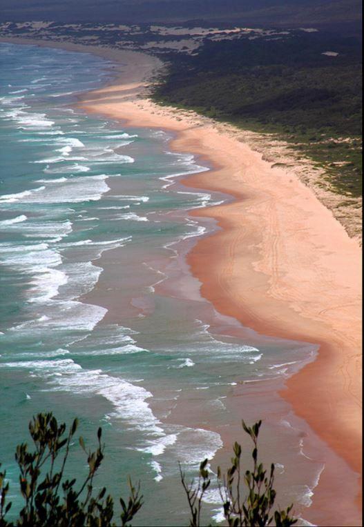 View along Smokey Beach from Smokey Cape Lighthouse, South West Rocks, NSW