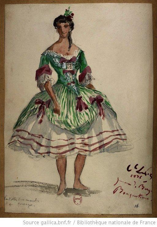Bouquetière.   [Les jumeaux de Bergame : vingt maquettes de costumes / par le comte Lepic] Auteur : Lepic, Ludovic Napoléon (1839-1889). Dessinateur Date d'édition : 1885-1886