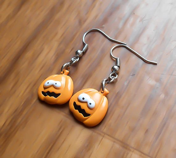 Pumpkin Earrings, Halloween Earrings, Silly Pumpkin, Pumpkin Jewelry, Costume Earrings, Cosplay Earrings, Halloween Costume, CLEARANCE, SALE