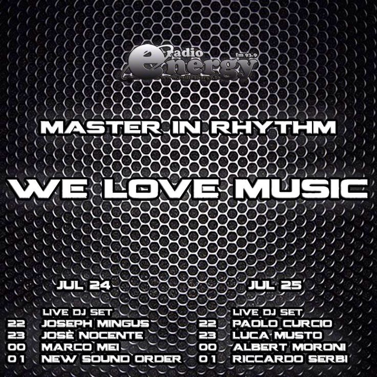 TONIGHT ON AIR !  Master in Rhythm Radio Show on Radio Energy