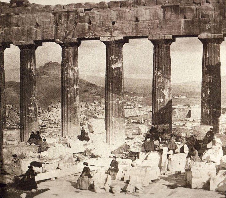 Schoolgirls in 1860 studying among the columns of the Parthenon in Athens.
