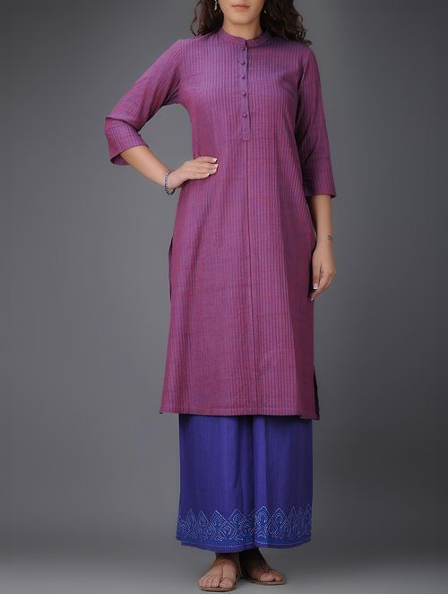 Purple Mandarin Collar Pintuck Cotton Kurta