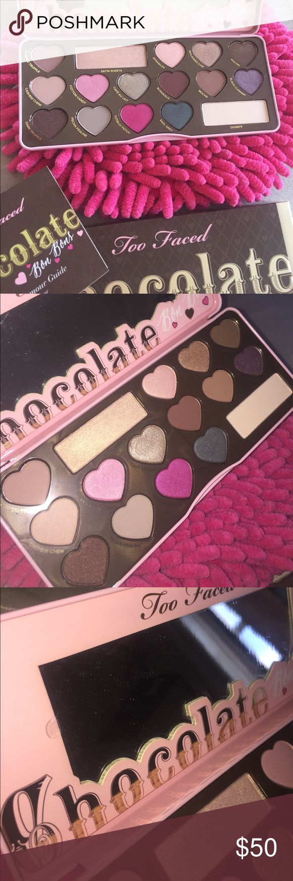 Too faced chocolate bon bons palette 💕 Brand new never used. 100% authentic I do not buy or sell fake makeup. Still in packaging purchased it about 2 months ago haven't got around to it. Plastic still attached to mirror. Price firm. Still for sale I think on sephora and hsn website Too Faced Accessories