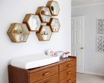 Hexagon Floating Shelves Honeycomb Shelf Home by HaaseHandcraft