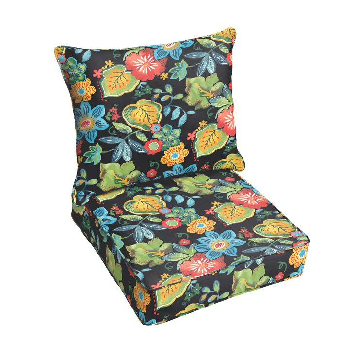 Tropical Indoor/ Outdoor Corded Chair Cushion And Pillow Set