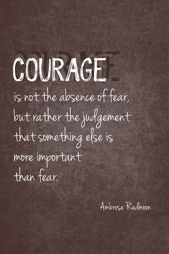 Courage is not the absence of fear, but rather the judgment that something else is more important than fear.