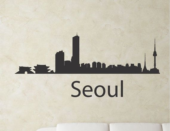 SlapArtSeoul South Korea city skyline Vinyl by VinylMasterpieces $15.99