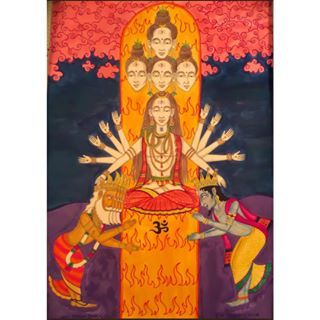 Brahma & Vishnu bow to Lord SadaSiva #hindu #shiva #brahma #vishnu #lingam #fire #gods #god #sadasiva #5faces #om #india #rasjata