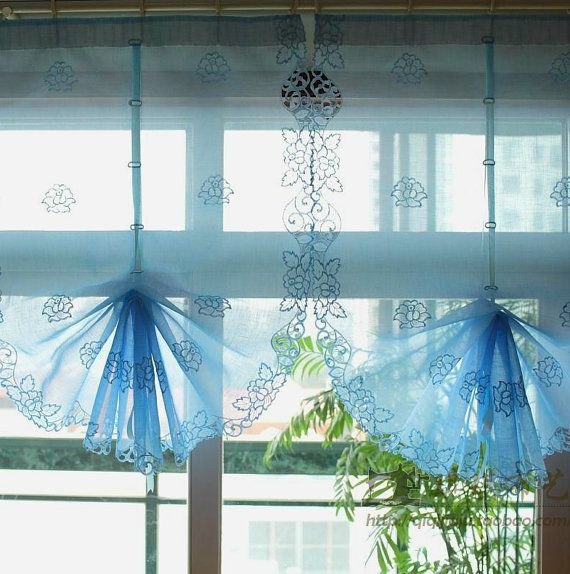 2 Colors Blue Or White Country Style Pull Up Balloon Sheer Curtain With  Embroidered Floral Patterns Sheer Voile Cafe Curtain Tie Up Curtains