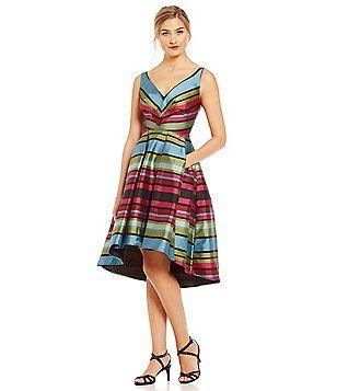 Eva Franco Zander Stripe Fit and Flare Hi-Low Dress