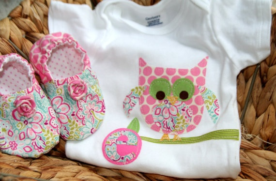 Baby Girl Owl Onesie and Booties Personalized by kaitybethhandmade, $24.00