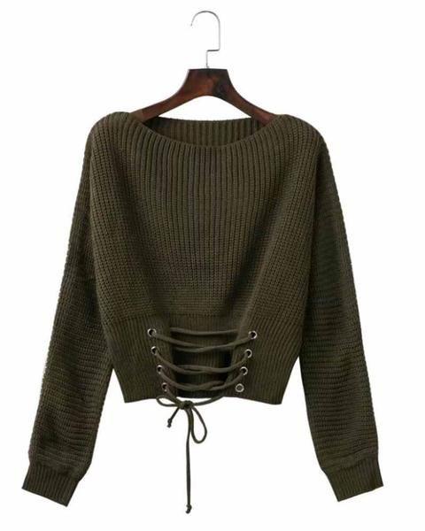 22b3de43d6 Army Green Lace Up Crop Sweater – risechic.com