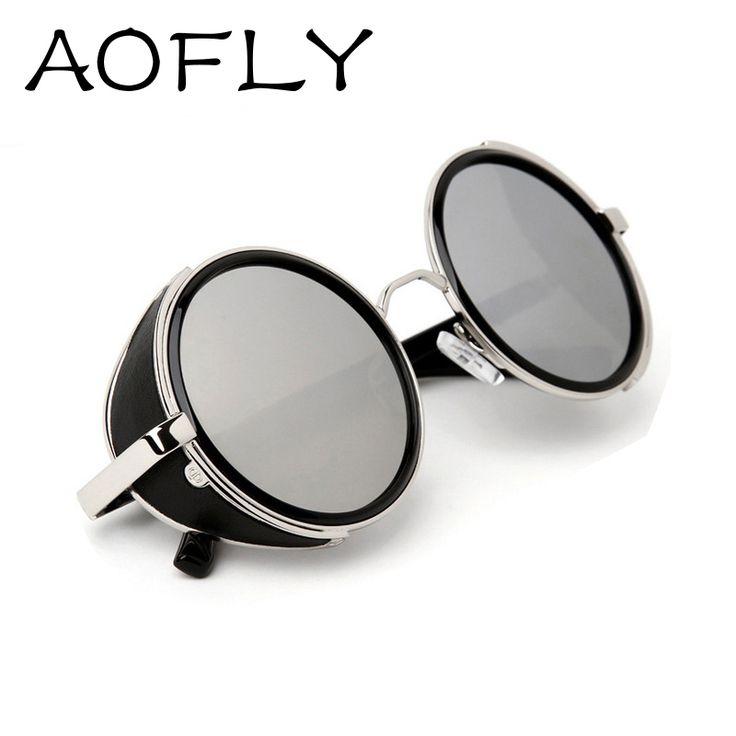 Vintage gafas de sol de diseño Steampunk gafas de sol de las mujeres Side Visor Círculo Ronda Lente hombres gafas retro vendimia oculos gafas