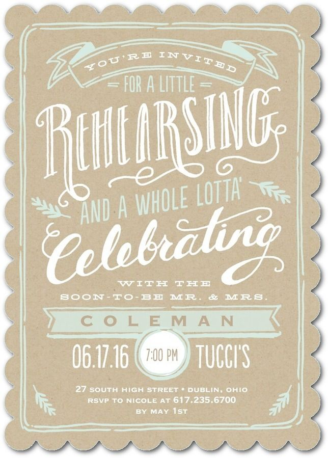Krafted Rehearsal - Signature White Rehearsal Dinner Invitations in Khaki or Slate | Elk Design