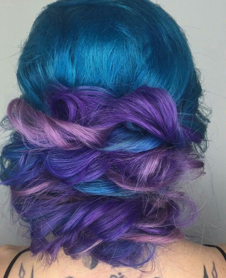 Blue purple dyed hair color @candicemarie702