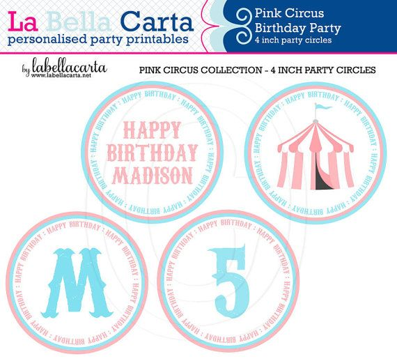 Pink Circus Printable 4 inch party circle, Circus Birthday, Circus Party, Printable Party, DIY Party, Pink Circus Party