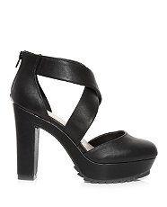 Black (Black) Black Cross Over Block Heel Sandals | 312682501 | New Look