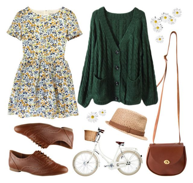 """""""Forest floral"""" by hanaglatison ❤ liked on Polyvore featuring mode, American Apparel, Jack Wills, ALDO, Volcom, green, brown, straw, knit et outfit"""
