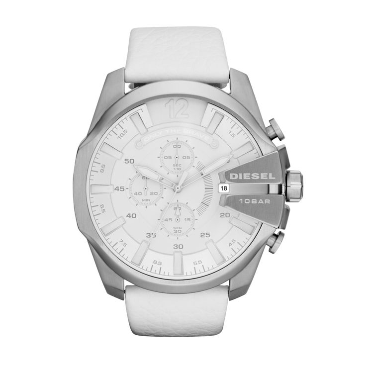 Diesel Mens Mega Chief White Leather Stainless Steel Watch DZ4292.  Those who love Diesel denim will appreciate the aesthetic of Diesel watches. Diesel watches for men and women are inspired by imagination, youth, color, and the ever-moving urban lifestyle.  Stark white leather pairs perfectly with stainless steel for a clean-yet-aggressive look.