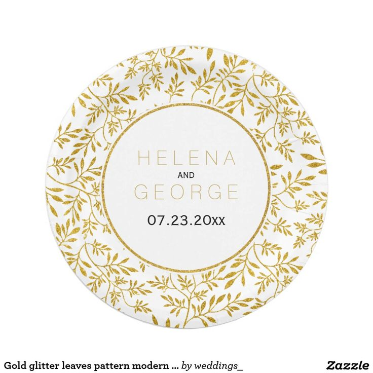 Gold glitter leaves pattern modern floral wedding paper plate
