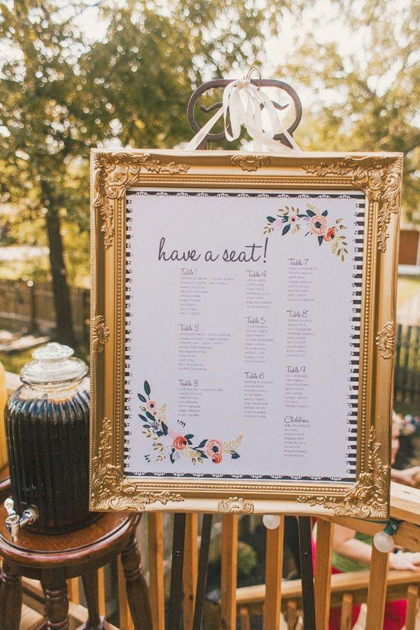 elegant gold frame seating chart ideas for weddings
