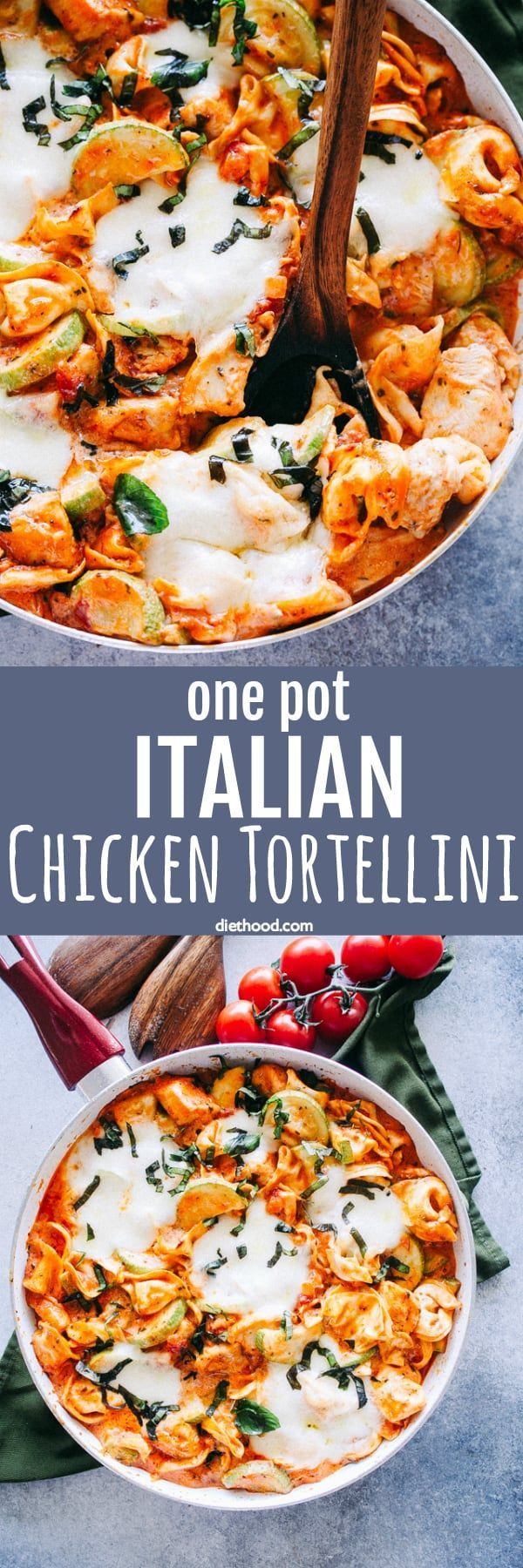 One Pot Italian Chicken Tortellini Recipe - A delicious and easy dinner recipe packed with chicken, zucchini, cheese, and tortellini! Get ready for a wonderful, picky-eater approved, 30-minute meal prepared in just one pot!