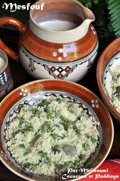 mesfouf ou couscous algerien aux petits pois et feves