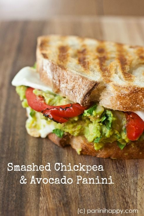 Smashed Chickpea and Avocado Panini via @Kathy Chan Chan Strahs | Panini Happy // This is definitely one of those vegetarian sandwiches where you hardly miss not having meat. #panini #sandwich #recipe