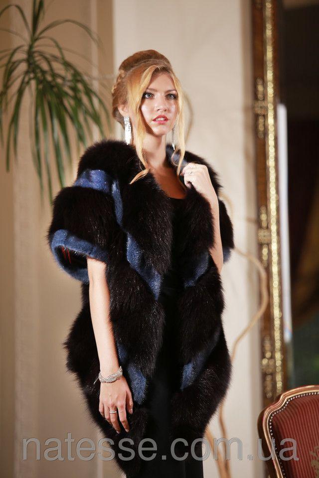 bordeau-dyed blue fox and blue mink fur vest gilet меховая жилетка меховой жилет из меха бордового песца и синей норки