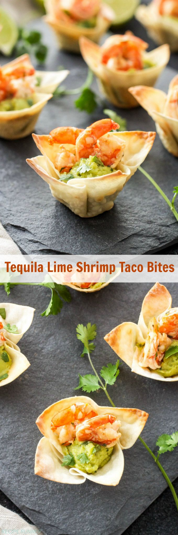 Tequila Lime Shrimp Taco Bites | Mini wonton cups filled with guacamole and topped with shrimp are the perfect, easy to make two-bite appetizer! use GF egg roll wrappers