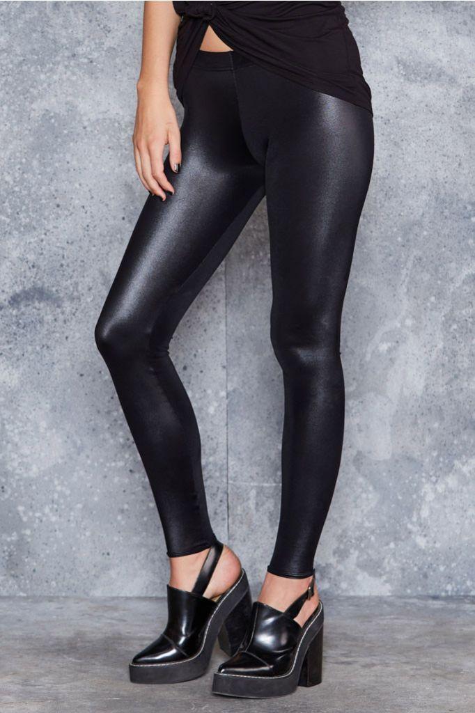Wet Look Black Leggings