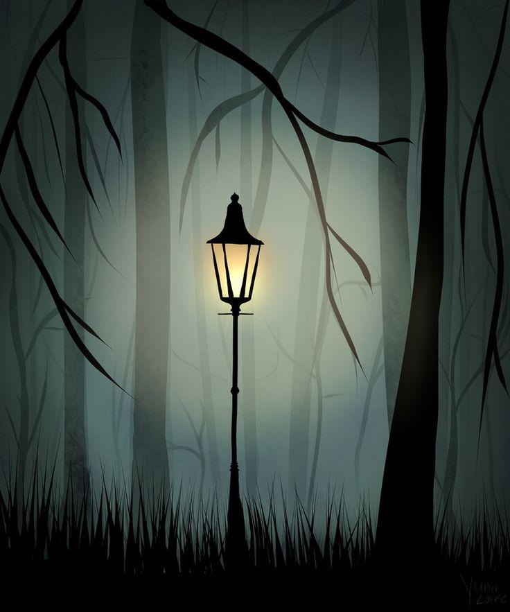 Lantern in a Foggy Forest by YunaLoire