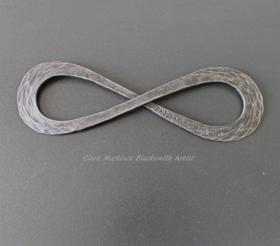 This Iron Infinity Symbol is hand forged from solid recycled iron bar. It is in fact endless as the symbol mean there is no beginning and no end