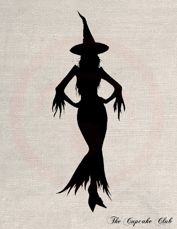 Clip Art Design Transfer Digital File Vintage Download DIY Scrapbook Shabby Chic Pillow Burlap Halloween Silhouette Witch Holiday No. 0501. $1.00, via Etsy.