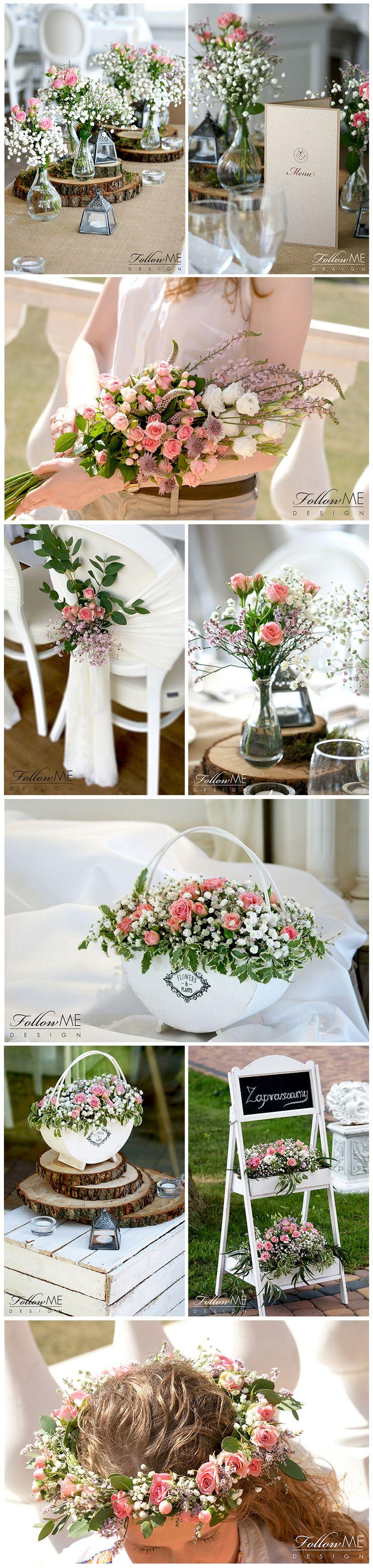 Rustykalne dekoracje ślubne / Inspiracje ślubne od FollowMe DESIGN: Rustykalny bukiet ślubny, Wianek ślubny z róż, Butonierki z róż, Dekoracje stołów, Dekoracje sali, Zaproszenia ślubne, Karty menu, Winietki / Wedding Decorations / Inspirations & Details by FollowMe DESIGN: Boho Wedding Roses Bouquet, Boho Wedding Flower Crown, Roses Boutonniere, Rustic Wedding Invitations, Wedding Place Card , Menu Card,