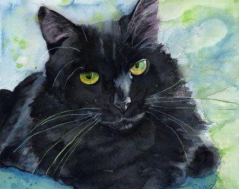 Black Cat Art Painting PRINT Watercolor Rachel Parker Large Huge Big Giclee Hand…